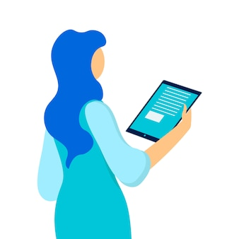 Frau, die tablet-flache vektor-illustration hält