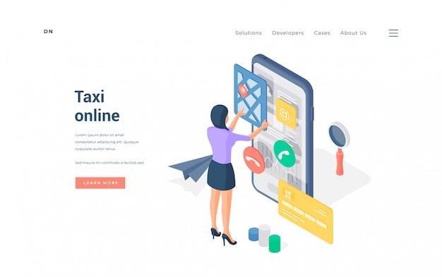 Frau, die taxi über smartphone-app bucht. isometrische frau, die bequeme online-app auf smartphone verwendet, um taxi auf werbebanner der website zu buchen