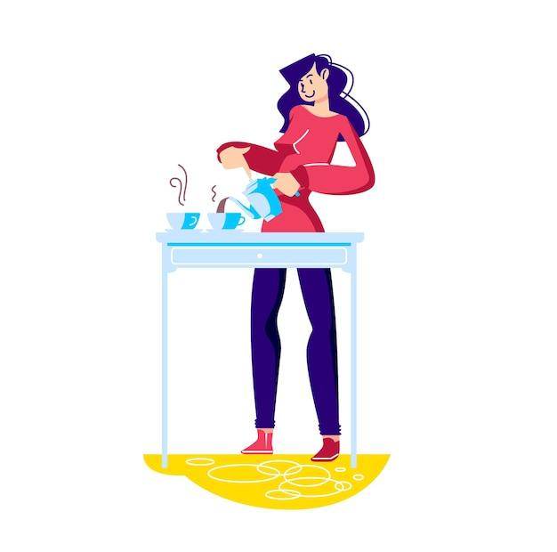 Frau, die tee macht und heißes getränk von teekanne zu teetasse auf tisch gießt