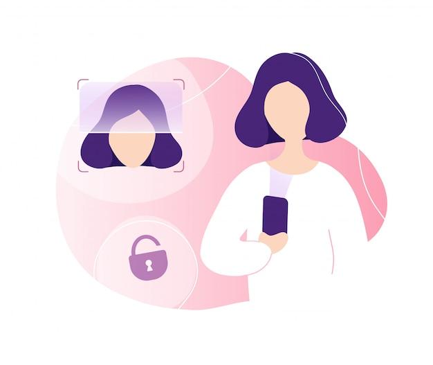 Frau, die telefon mit gesichtserkennung entsperrt