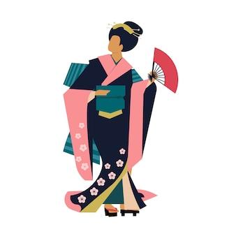 Frau, die traditionelle japanische kleidung trägt