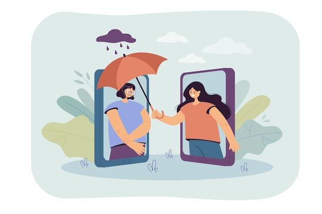 Frau, die traurigen freund mit regenschirm über telefon bedeckt