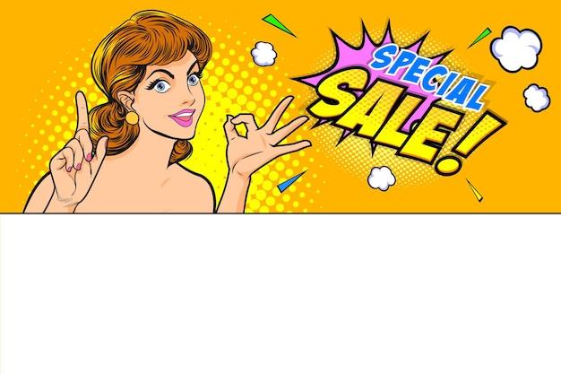 Frau, die über einer leeren leeren werbetafel steht, okay gestenaktion mit hintergrund-pop-art-comics-stil