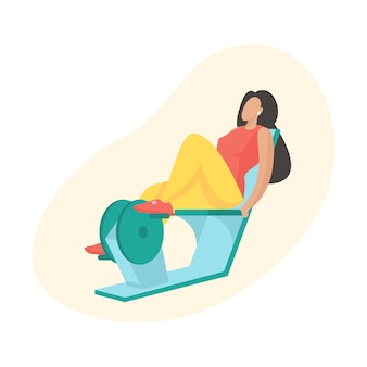 Frau, die übungen mit dem liegenden heimtrainer macht. outdoor-sportgeräte. weibliche zeichentrickfigur in sportbekleidung, die cardio-übungen macht. flache vektorillustration