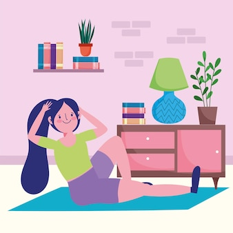 Frau, die übungen übt