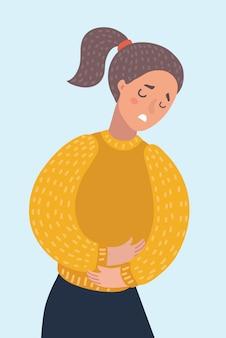 Frau, die unter bauchschmerzen leidet. mädchen mit periode bauchschmerzen. gesundheit.