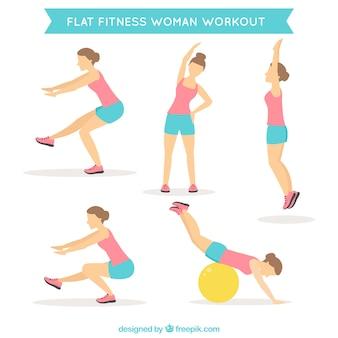Frau, die verschiedene übungen in flaches design