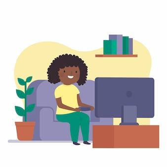 Frau, die videospielillustration spielt