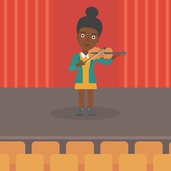 Frau, die violine spielt.