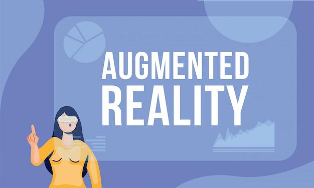 Frau, die virtuelle technologie der realität in der interaktiven anzeige verwendet