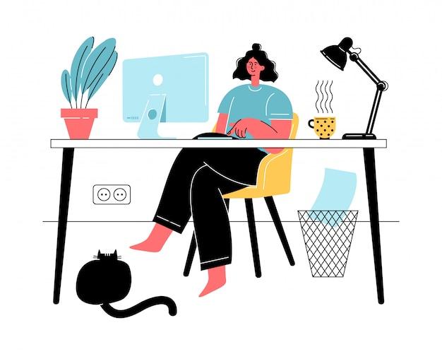 Frau, die von zu hause während der quarantäne mit katze arbeitet. soziale distanzierung und selbstisolation. freiberufliche online-bildung, social-media-konzept.