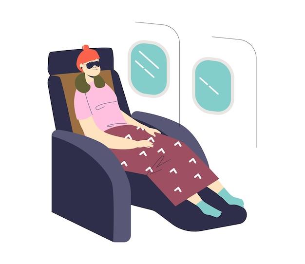 Frau, die während der reise durch flugzeugillustration schläft