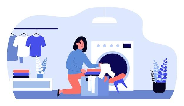 Frau, die wäsche macht