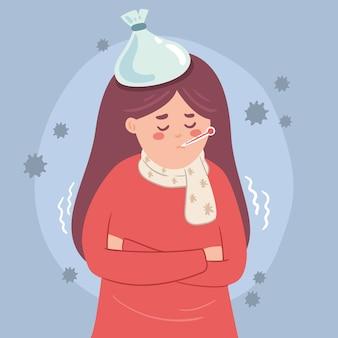 Frau, die warme kleidung trägt und eine grippe hat