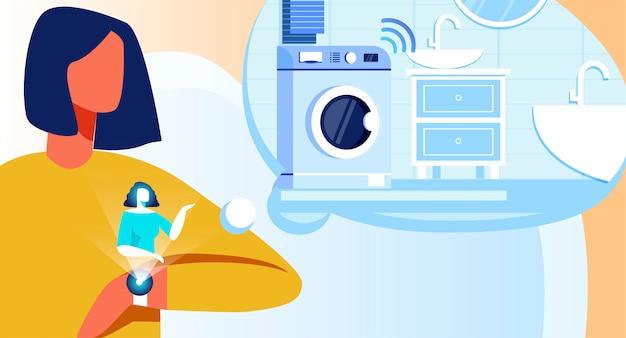 Frau, die waschmaschinen-arbeit über intelligente armbanduhr reguliert