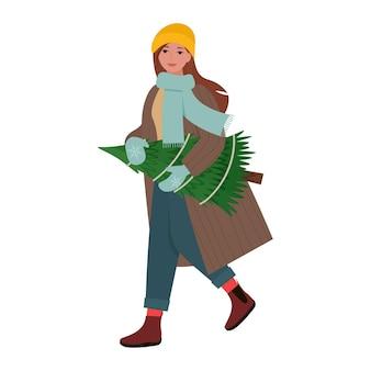 Frau, die weihnachtstannenbaum trägt, der sich auf weihnachtsfeiertag-flache vektorillustration vorbereitet