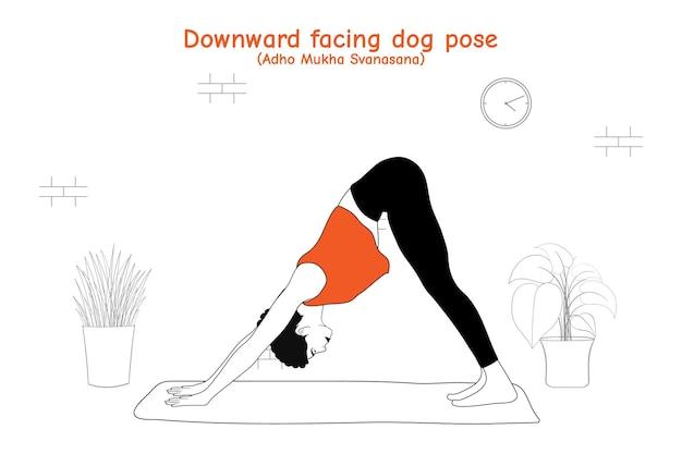 Frau, die yoga asana nach unten gerichtete hundehaltung oder adho mukha svanasana im flachen hand gezeichneten stil tut