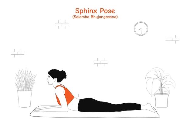 Frau, die yoga asana sphinx pose oder salamba bhujangasana tut