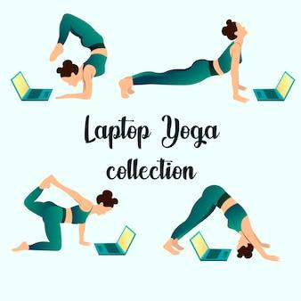 Frau, die yoga-asanas beim suchen in einem laptop tut. online yoga klasse ein online workout konzept.