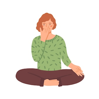 Frau, die yoga-flache illustration tut