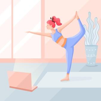 Frau, die yoga flaches design tut