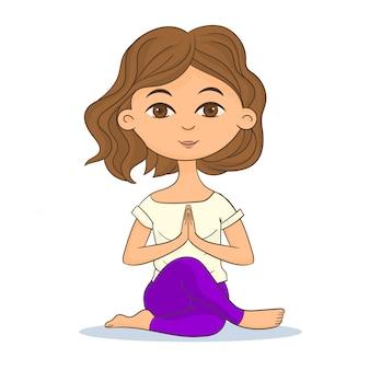 Frau, die yoga-haltung tut