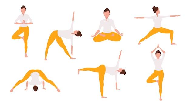 Frau, die yoga illustrationssatz tut