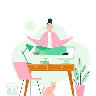 Frau, die yoga im büro über desktop macht. frau meditiert, um die stressigen gefühle von harter arbeit zu beruhigen. konzeptillustration.