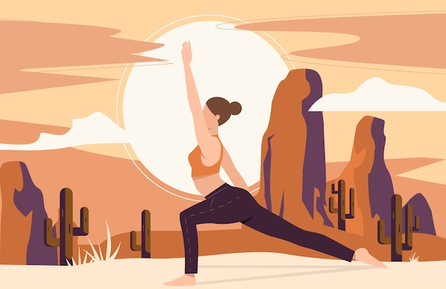 Frau, die yoga im freien tut