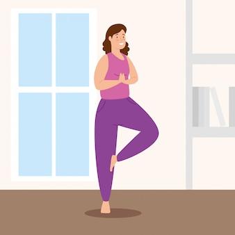 Frau, die yoga im hausvektorillustrationsentwurf tut