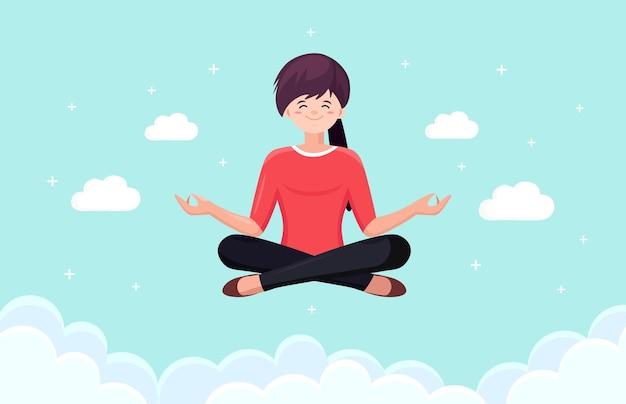 Frau, die yoga im himmel mit wolken tut. yogi sitzt in padmasana lotus pose und meditiert