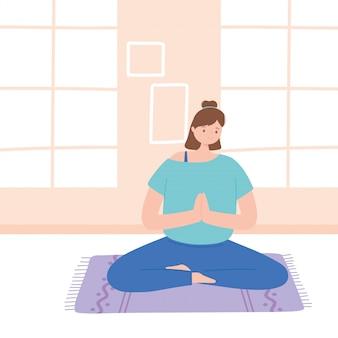 Frau, die yoga-meditations-posenübungen, gesunden lebensstil, körperliche und geistige übungsillustration praktiziert