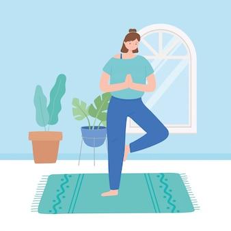 Frau, die yoga-posenübungen, gesunde lebensweise, körperliche und geistige übungsillustration praktiziert