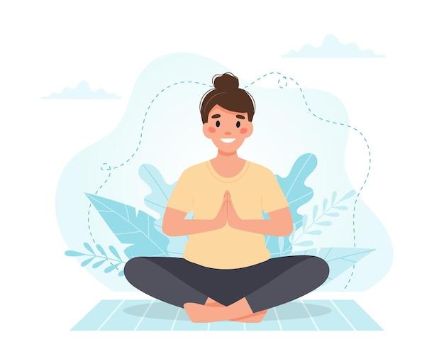 Frau, die yoga praktiziert.