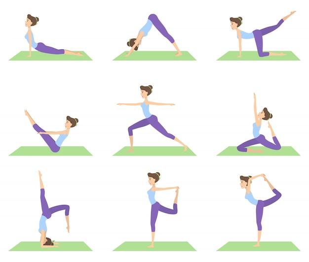 Frau, die yoga satz von positionen auf weiß tut.