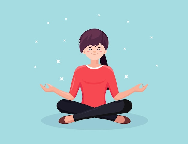Frau, die yoga sitzt in padmasana lotus pose sitzt