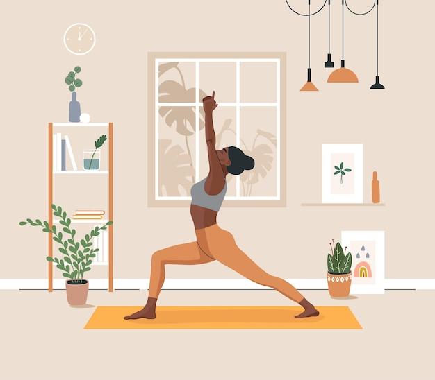 Frau, die yoga-übungen macht und sich im yoga-studio oder zu hause ausdehnt. premium-vektor