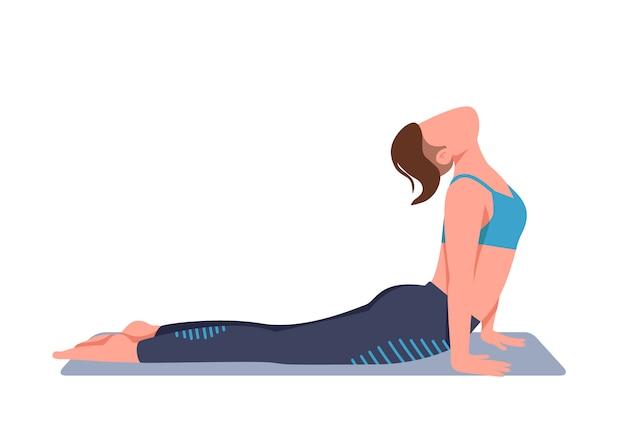 Frau, die yoga zu hause flache farbe gesichtslosen charakter tut