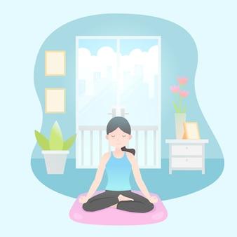 Frau, die yoga zu hause macht