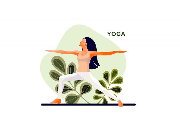 Frau, die yogaübung praktiziert, yoga-pose