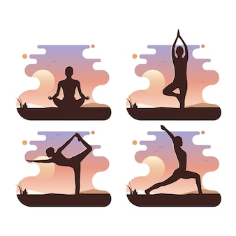 Frau, die yogaübung praktiziert, yoga-posen.