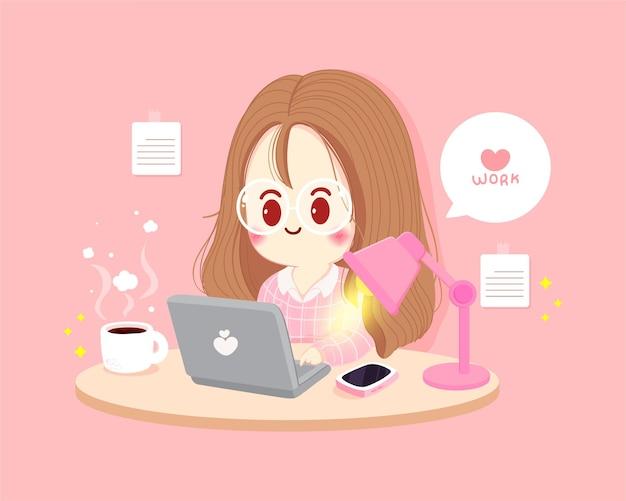 Frau, die zu hause arbeitet und an laptop-karikaturkunstillustration arbeitet