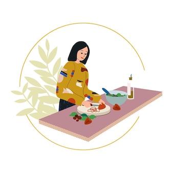 Frau, die zu hause kocht, flache vektorgrafik lächelndes mädchen, das frühstück, mittag- oder abendessen zubereitet