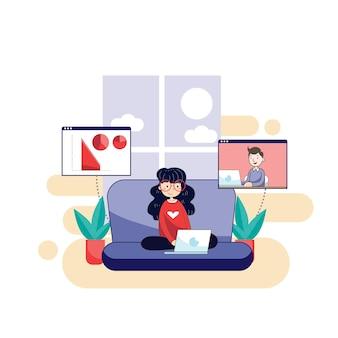 Frau, die zu hause mit ihrem laptop arbeitet, um virusinfektion zu verhindern