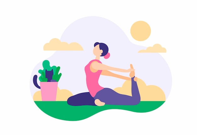 Frau, die zu hause übungen macht. schönes mädchen in sportleggings dehnt sich auf grünem teppich mit aktiver yogapraxis aus. nützliche morgengymnastik zur straffung des körpers. vektor-cartoon-illustration