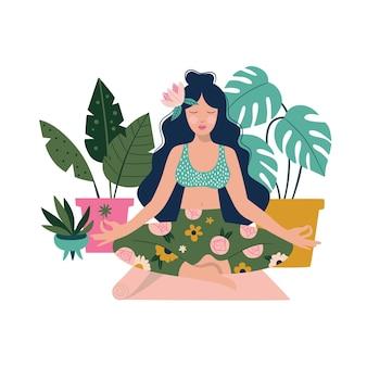 Frau, die zu hause um zimmerpflanzen meditiert konzeptillustration für yoga-meditation entspannen erholung gesunden lebensstil