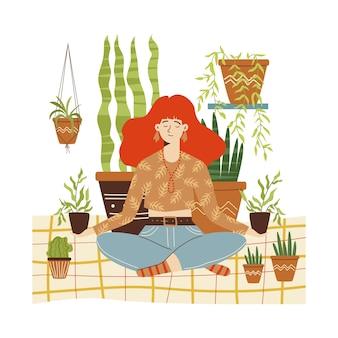 Frau, die zu hause unter der flachen karikaturvektorillustration der zimmerpflanzen meditiert