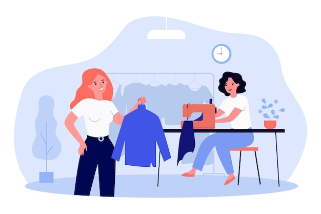 Frau, die zur reparaturwerkstatt für kleidung kommt. flache vektorillustration. mädchen, das kleidung nach ihren maßen kauft, indem sie die dienste von designern und näherinnen in anspruch nimmt. nähen, schneiderei, mode, bekleidungskonzept