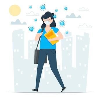 Frau, die zurück zur arbeit geht, während gesichtsmaske trägt