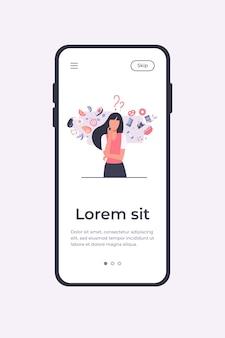 Frau, die zwischen gesundem und ungesundem essen der mobilen app-vorlage wählt